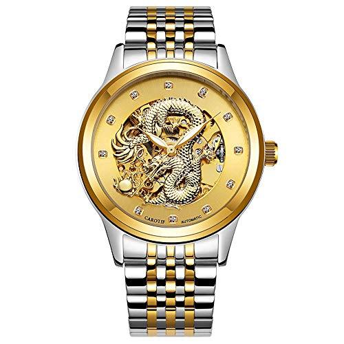 Z.L.F Beobachten Herren wasserdichte Uhr Mechanische Business Dial Herrenuhr Dragon Watch Armbanduhr (Color : 02Gold, Size : Kostenlos) -