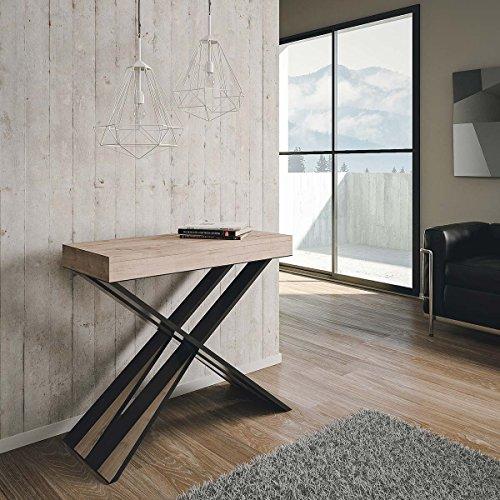 Group Design Diago Table console extensible, moderne, en chêne naturel - Fabriquée en Italie - Pour 14 personnes