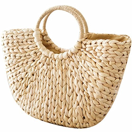 Women Straw Knitted Handbag Hand-woven Round Handle Ring Toto Beach Bag (Chain Handtasche Tote)