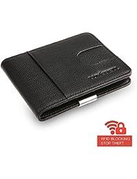 Money clip wallet – Luxebell Monedero RFID carpeta del cuero genuino con alicates Entradas / titular de la tarjeta para los bolsillos de los pantalones o chaqueta, Negro