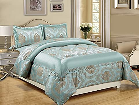 3 Piece Jacquard Quilted Bedspread Comforter, Pillow Shams,Luxury Bed Set+ Free P & P (Betty Nutmeg, King)