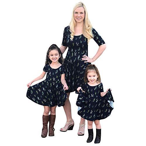 Storerine Mom & Me Mädchen-Kurzarm-Kleid mit Kaktusdruck Familie Passende ()