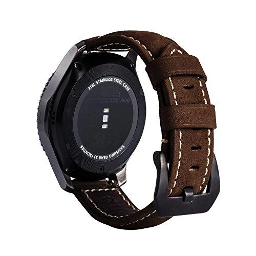 Ersatzband für Gear S3 Armband, MroTech 22mm Uhrenarmband Uhrenband Armband für Samsung Gear S3 Frontier Classic Moto 360 2nd Gen 46mm Men Pebble Time Steel Smartwatch Uhrband (Dunkelbraun/ Größer) Leder Ersatz-uhrenarmbänder