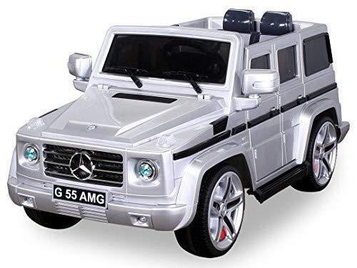 Actionbikes Motors Original Mercedes Benz AMG G55 inklusive High Door - Leder Sitz - Metallic Lackierung Jeep Lizenz Elektro Kinderauto Kinderfahrzeug Spielzeug (Silber)