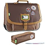 Lot Cartable TANN'S 35 cm Into The Wild Bison + 1 Trousse Double Assortie + 1 Stylo...