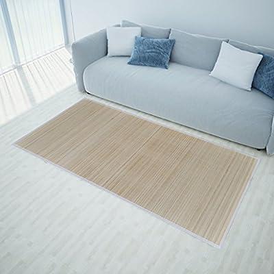 Anself - Alfombra de bambú natural con pvc antideslizante, rectangular, 120 x 180 cm