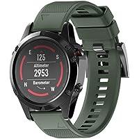 zolimx Correa de Recambio Brazalete Extensibles Silicagel Pulsera para Garmin Fenix 5 GPS Watch (Ejercito Verde)