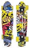 Schildkröt Unisex– Erwachsene Retro Skateboard Free Spirit, Premium Beach Board mit coolem Deckdesign, leuchtende LED Rollen, Design: Party, 510782, One Size