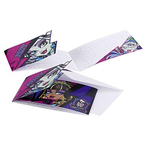 Party Einladungen Mottoparty Einladungsset 6 Stk. Kinderparty Karten Einladung Monster High 2 Einladungskarten Partydekoration Geburtstag Mädchen Kindergeburtstag Dekoration Accessoires Kinder Partyeinladungen