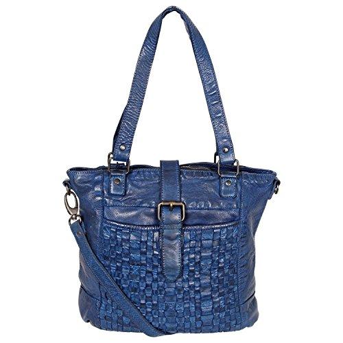 Bear Design Shopper Bag Borsa Donna con tracolla CL32650 intrecciato, in pelle lavata Blu