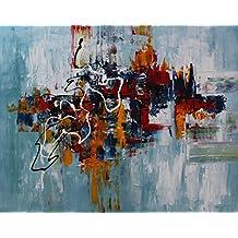 Angie Decoration Abstracto Nube Cuadro, Acrílico, Azul, 100x80 cm