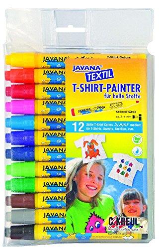 Kreul 90720 - Javana Texi Mäx Sunny Stoffmalstifte für helle Stoffe, mit unempfindlicher Rundspitze ca. 2 - 4 mm, 12 Stifte in verschiedenen Farben