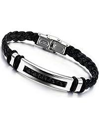 Jstyle Joyería para hombre Negro de acero inoxidable de cuero trenzado pulsera de 20 cm