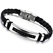 Jstyle Bijoux Bracelet Homme Acier Inoxydable Cordon en Cuir - 20 cm de longueur - 10 mm de largeur