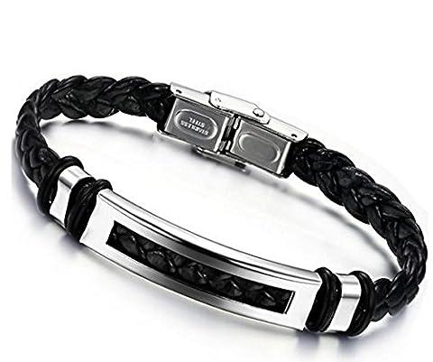 Jstyle Bijoux Bracelet Homme Acier Inoxydable Cordon en Cuir -