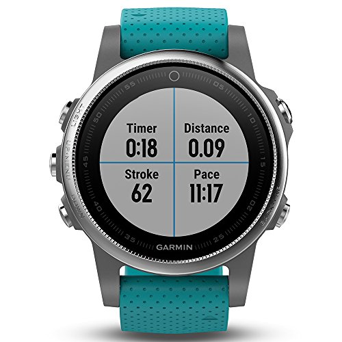 Garmin Fenix 5S Multisport GPS Watch with Outdoor Navigation and Wrist-Based Heart Rate – Silver with Turquoise Band