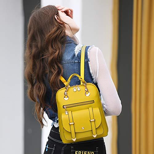 NICOLE&DORIS Frauen Art und Weiseschule Hochschulreise im Freienbeutel Mädchen Spielraum Rucksack Daypack Schulter PU Gelb