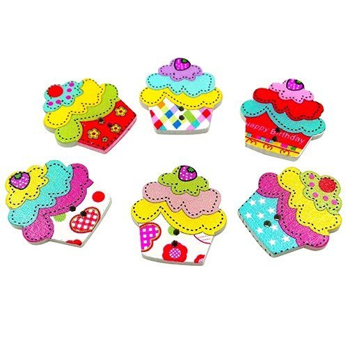 Gracorgzjs??? 50PCS Holz Kuchen Schmetterling Katze Knöpfe Zum Annähen Crafts DIY 2Löcher ¡ï ¡ï, Holz, 3#
