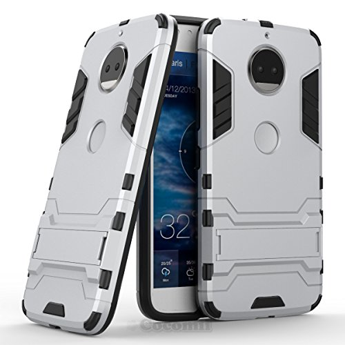 Motorola Moto G5S Plus / G6 Plus Hülle, Cocomii Iron Man Armor NEW [Heavy Duty] Premium Tactical Grip Kickstand Shockproof Hard Bumper Shell [Military Defender] Full Body Dual Layer Rugged Cover Case Schutzhülle XT1806/2/3/4/5 (Silver)