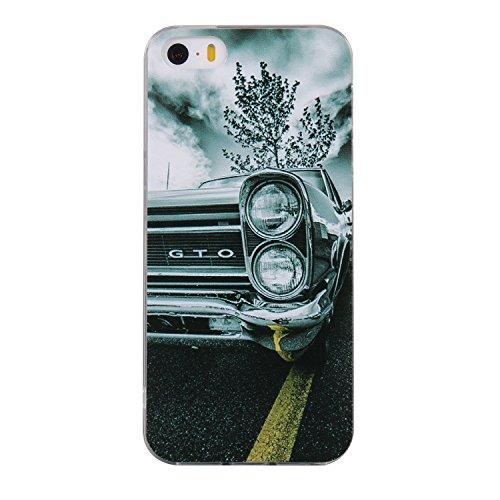 Pour iPhone 5 5S 5G / iPhone SE Case Cover, Ecoway TPU Soft Silicone motifs peints Housse en silicone Housse de protection Housse pour téléphone portable pour iPhone 5 5S 5G / iPhone SE - Flamant Voiture