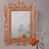 Homesake French Carved Royal Vintage Decorative Wooden Wall Mirror, Antique Rustic Copper