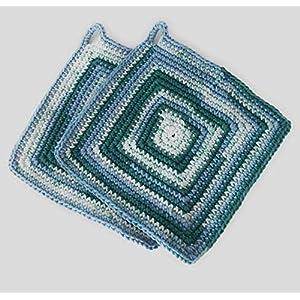 Topflappen dick gehäkelt ca. 19 x 19 cm quadratisch bunt (türkis grün aqua petrol)