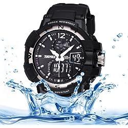 Skmei Quarz + Digital Dual Movement 5ATM Waterproof Round Dial Chronograph & Luminous Function Herren Sport Uhr mit PU Plastic Cement Band (Silver)