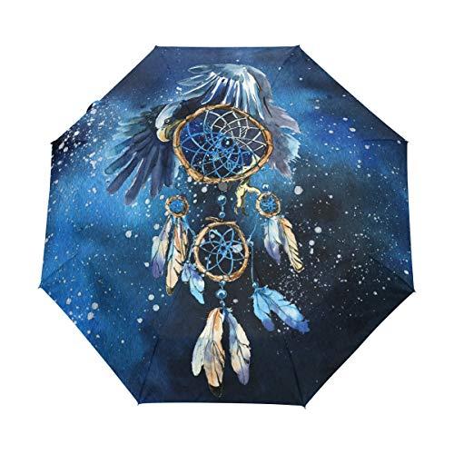 Hunihuni - Paraguas Plegable con diseño de águila atrapasueños (Resistente al Viento, Resistente al Agua, protección contra Rayos UV)