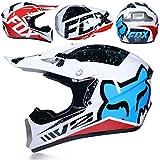 ZHANG-TK Motorrad-Integralhelm, Motocross-Helm (einschließlich Helm, Schutzbrille, Gesichtsmaske, Langlaufhandschuhe, Insgesamt Vier Sätze) (Color : 3, Size : M57~58CM)