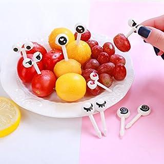 Fruit Fork, Cartoon Lovely Cute Eyes Fruit Fork Sign Resin Fruit Toothpick Bento Lunch Children Decorative 10 Set/pcs, Aixin