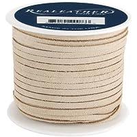 Realeather Crafts-Bobina in pelle scamosciata, con lacci, colore: beige
