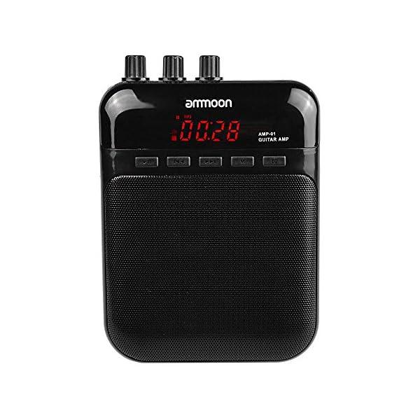 ammoon AMP -01 5W Guitar Amp Altoparlante del Registratore Carta di TF Multifunzione Portatile Compatto