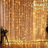 LED Lichterkette FOCHEA 3m x 3m Lichtervorhang 304 LEDs Lichterkette Vorhang 8 Modi IP44 Wasserfest LED Lichtervorhang Warmweiß Beleuchtung für Weihnachten Party Schlafzimmer Innen und außen Deko