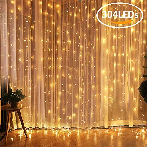 LED Lichtervorhang FOCHEA 304 LEDs Lichterkettenvorhang 3m x 3m 8 Modi IP44 Wasserfest Lichterkette Warmweiß für Weihnachten Party Schlafzimmer Garten Innen und außen Deko