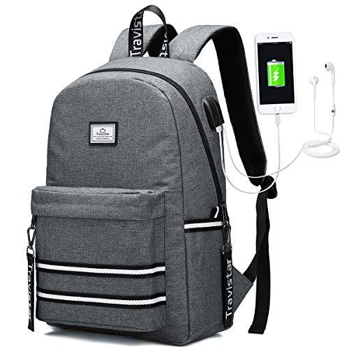 Travistar Laptop Zaino per Donna Uomo Scuola Backpack Impermeabile Zaino con Ricarica USB e Attacco per Cuffie per il Viaggio di lavoro Degli Uomini per laptop e laptop da 15,6 Pollici
