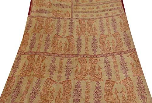 Jahrgang indische Sarong 100% reine Seide Vogel Printed Beige Saree Stoff Sari (Bollywood Dekorationen Fuß)