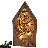 Casa LED Xmas Oggetto Decorativo Legno Natura Natale Winter Design, Legno, Braun Natur, 35x17x4cm