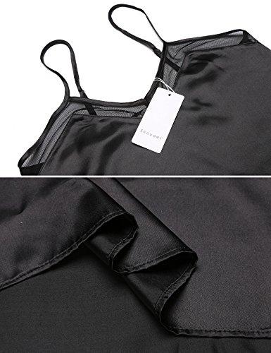 Ekouaer Damen Satin Schlafanzug Sexy V-Ausschnitt Nachtwäsche Träger Nachthemd Spitze Babydoll Pyjama Negligee Dessous Schwarz601
