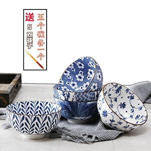 YUWANW Underglaze Casa Giapponese Tazza Ceramica 4,5 Pollici Di Riso Al Vapore 5 Adatta Per Una Piccola Ciotola Di Zuppa Di Mangiare Una Ciotola Di Blu E Bianco Ciotola,Uno Dei 5 Ciotole