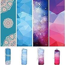Syourself Toalla de mano y yoga, 183 cm x 61 cm, antideslizante, absorbente, suave, microfibra, toalla para yoga, fitness, ejercicio, deporte y aire libre, incluye bolsa de viaje (Starry)