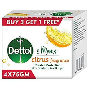 Dettol Citrus Bathing Soap Bar with Naturally Derived Ingredients, (Buy 3 Get 1 Free - 75g each), Combo Offer on Bath Soap