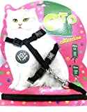 #7: The Pets Company Body Harness Set For Cats, Harness and Adjustable Nylon Leash, Black Color