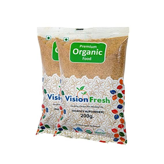 Vision Fresh Organic Coriander Powder (Dhaniya Powder) - 400 Gram - Pack of 2 (200 Gram Each)