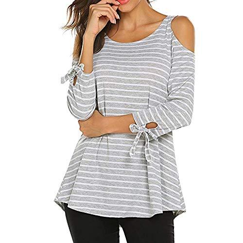 Rovinci da donna top a tunica a righe manica 3/4 camicette larghe stampa camicia a maniche lunghe camicia a maniche corte con bottoni girocollo top casual maglietta
