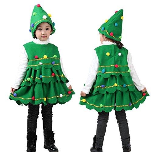 HKFV Kinder Performance Herren Hairball Weihnachten ärmelloses Top Kleid + Hut zweiteilige Anzug Weihnachtsbaum Kostüm Kleid Tops Party Weste + Hut Outfits Weihnachtskostüme (90, Grün) (Saints Kostüme Für Kinder)