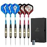 Centaur 6er-Pack Darts Set, DARTPFEILE mit METALLSPITZEN Steeldarts 21 g mit Aluminium-Schäften und 2 Style Flights + Transportboxen