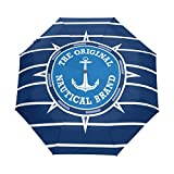 Regenschirm Streifen Nautical Emblem Anker 3 Falten Auto Öffnen Schließen Anti-UV Windproof...