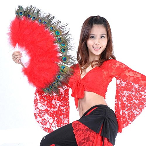 Wgwioo Bauchtanz Pfau Feder Marabou Fan Große Hand Kostüm Halloween Party Plastik Staves Soft Fluffy Lady Burlesque Fantasie Falten Professionelle Leistung, Red, (Red Right Hand Kostüm)