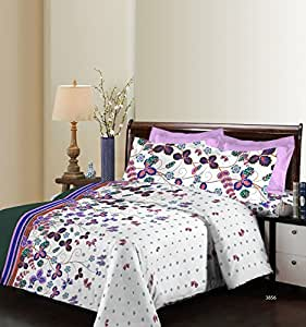 Bombay Dyeing Breeze 120 TC Cotton Double Bedsheet with 2 Pillow Covers - Abstract, Blue
