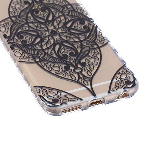 SpiritSun Etui Coque TPU Slim pour Apple iPhone 6 4.7 pouces Souple Housse Protection Flexible Soft Case Cas Couverture Anti-Rayures Mince Légère Transparente Silicone Cover - Fleur Bleu Floral Aztèque Tribal